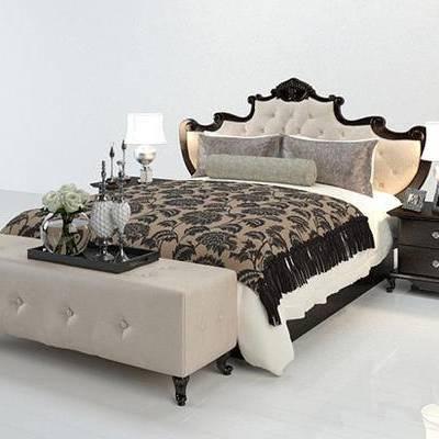 美式, 床具, 双人床, 台灯, 床头柜