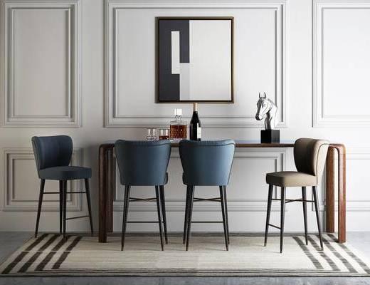 北欧简约, 桌椅组合, 酒瓶, 摆件, 北欧