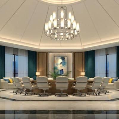 会议室, 吊灯, 壁画, 桌子, 椅子, 多人沙发, 边几, 台灯, 现代
