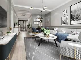 北欧简约, 客厅, 沙发茶几组合, 吊灯, 植物, 桌椅组合