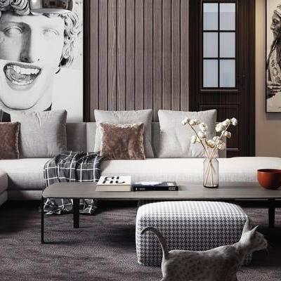 现代客厅, 多人沙发, 茶几, 沙发凳, 壁画, 猫, 花瓶, 现代