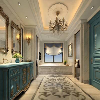 卫生间, 吊灯, 洗手台, 浴缸, 壁画, 镜子, 壁灯, 花瓶, 欧式