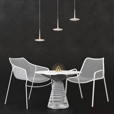 现代, 铁艺, 桌椅组合, 吊灯