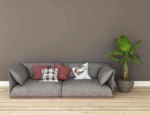 沙发组合, 双人沙发, 盆栽, 北欧