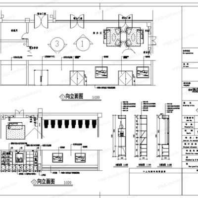 CAD, 施工图, 工装, 酒店, 平面图, 立面图, 客房