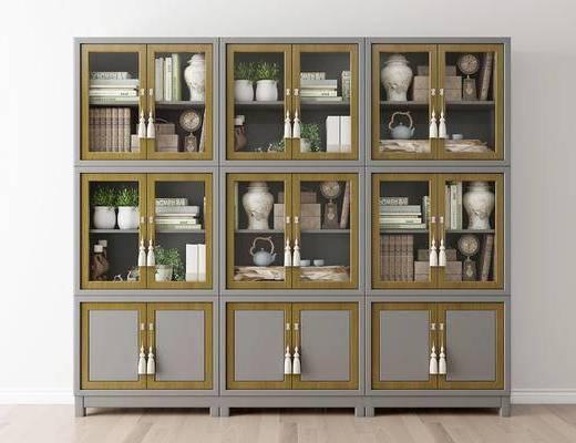 摆件组合, 书柜, 书籍, 现代