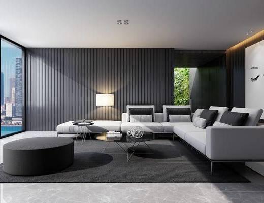 现代, 沙发, 茶几, 台灯, 抱枕