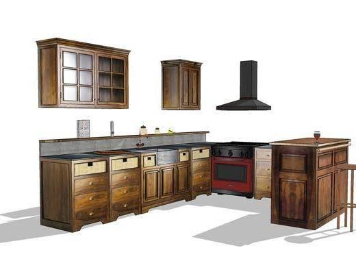 厨柜, 橱柜, 厨房, 椅子, 现代