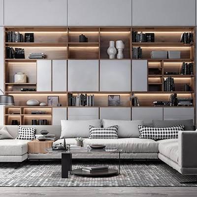 现代简约, 沙发茶几组合, 书柜, 陈设品组合, 现代