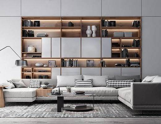 现代简约, 沙发茶几组合, 书柜, 陈设品组合