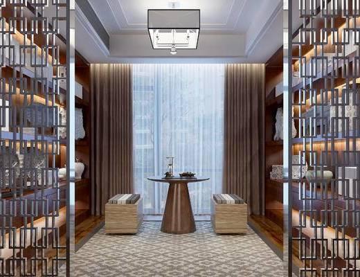 中式茶室, 吊灯, 凳子, 边几, 置物柜, 地毯, 中式