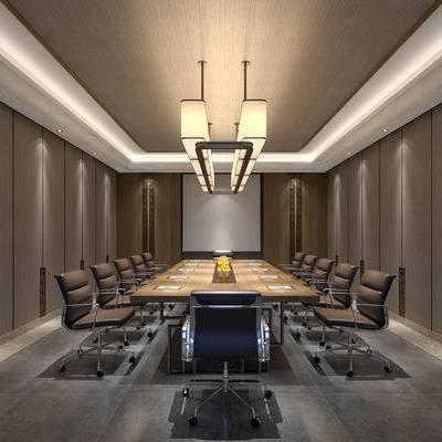会议室, 桌子, 吊灯, 椅子, 新中式