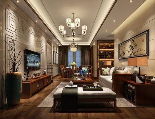 新中式客厅, 新中式沙发, 壁画, 茶几, 椅子, 边几, 电视柜, 沙发躺椅, 台灯, 置物柜, 新中式