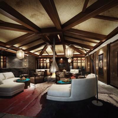 会客区, 多人沙发, 落地灯, 置物柜, 茶几, 壁画, 壁灯, 现代