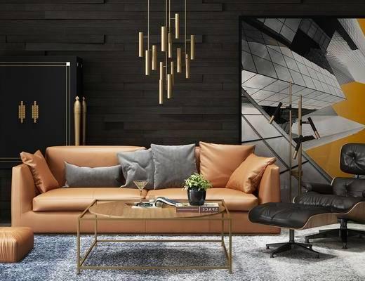 现代, 沙发, 茶几, 吊灯, 挂画, 装饰画, 边柜, 装饰柜, 沙发椅, 脚踏
