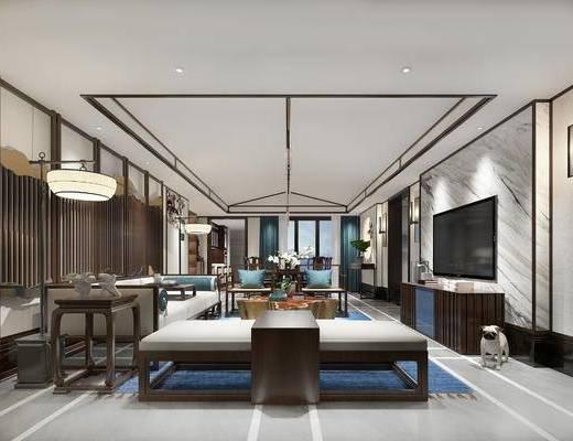 新中式客厅, 电视柜, 多人沙发, 边几, 落地灯, 沙发躺椅, 茶几, 桌子, 椅子, 狗, 新中式