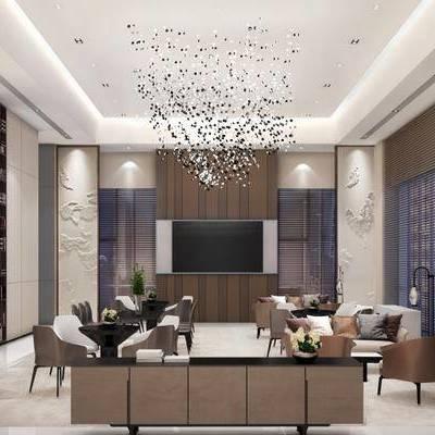 現代售樓處, 沙發茶幾組合, 吊燈, 現代桌椅組合, 壁畫, 落地燈, 吧臺, 儲物架, 柜子, 現代