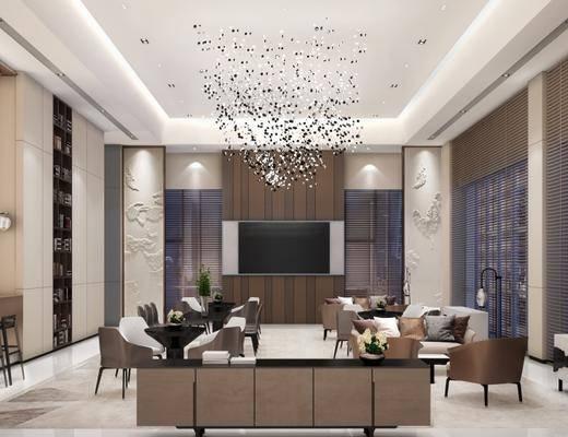 现代售楼处, 沙发茶几组合, 吊灯, 现代桌椅组合, 壁画, 落地灯, 吧台, 储物架, 柜子, 现代