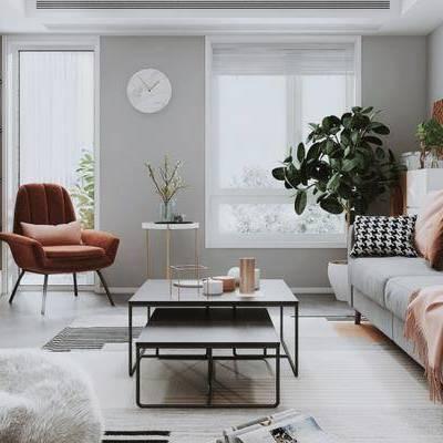现代客厅, 多人沙发, 电视柜, 单椅, 茶几, 壁画, 边几, 时钟, 边柜, 盆栽, 现代