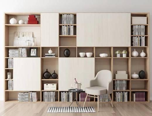摆件组合, 书柜, 椅子, 现代