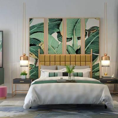 床具组合, 双人床, 壁画, 边几, 椅子, 柜子, 吊灯, 地毯, 现代