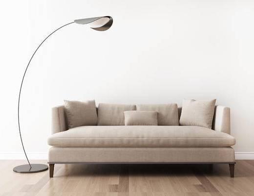 多人沙发, 落地灯, 美式