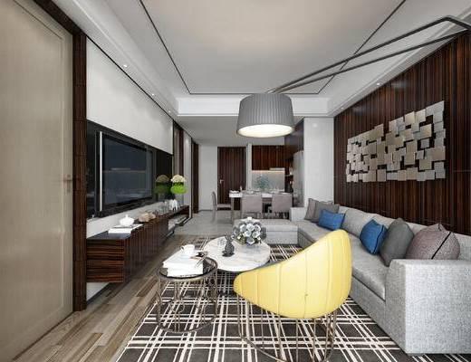 现代客餐厅, 多人沙发, 落地灯, 电视柜, 茶几, 椅子, 桌子, 现代