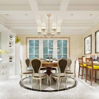 现代餐厅, 吊灯, 壁画, 桌子, 椅子, 吧台, 吧椅, 酒柜, 现代