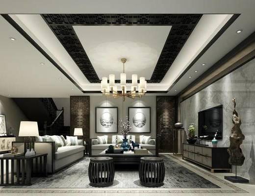 中式, 客厅, 沙发, 茶几, 吊灯, 台灯, 摆件, 电视柜
