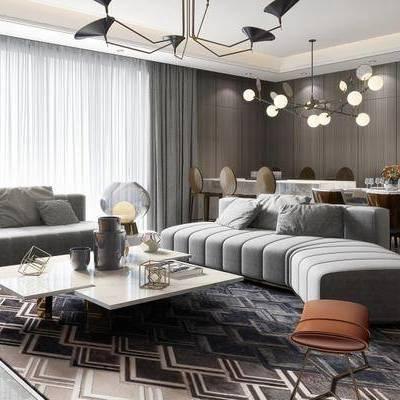 现代客厅, 吊灯, 多人沙发, 茶几, 椅子, 桌子, 落地灯, 边几, 台灯, 地毯, 现代