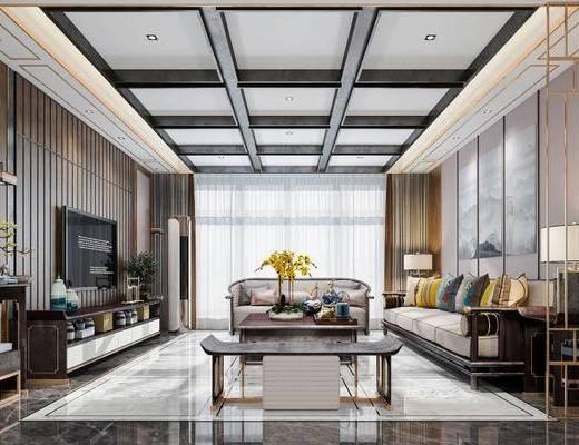新中式, 客厅, 沙发, 茶几, 台灯, 摆件, 椅子, 墙饰, 电视柜