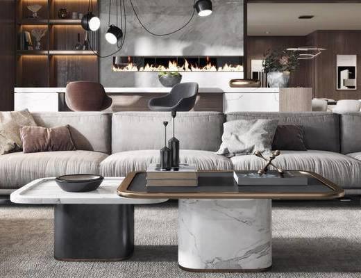 现代客餐厅, 多人沙发, 茶几, 吧椅, 吧台, 壁画, 置物柜, 沙发躺椅, 吊灯, 现代