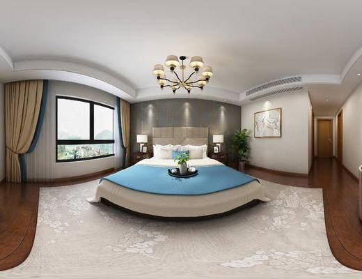 后現代臥室, 雙人床, 床頭柜, 臺燈, 壁畫, 電視柜, 后現代