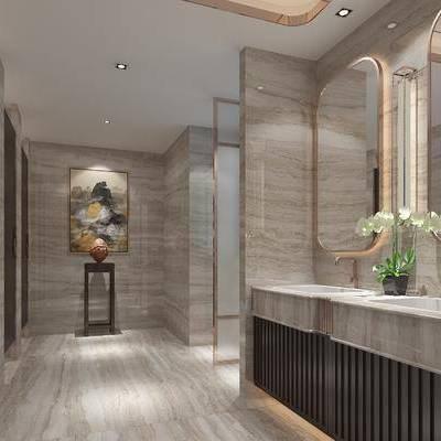 卫生间, 洗手台, 壁画, 边几, 镜子, 现代
