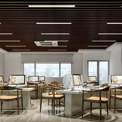 现代办公室, 办公桌, 办公椅, 储物柜, 壁灯, 壁画, 相框, 储物架, 现代
