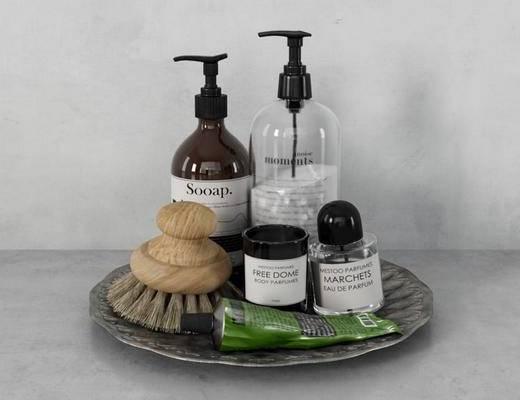 现代, 浴室摆件, 托盘, 沐浴用品, 刷子
