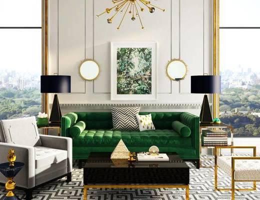 沙发组合, 沙发茶几组合, 吊灯, 陈设品, 简欧, 下得乐3888套模型合辑