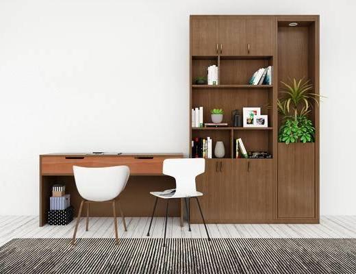 桌椅组合, 桌子, 桌椅, 置物柜, 现代