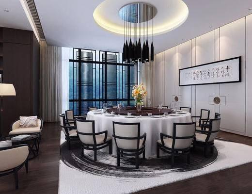 新中式, 餐厅, 桌椅组合, 吊灯, 餐具组合, 花瓶, 挂画, 下得乐3888套模型合辑
