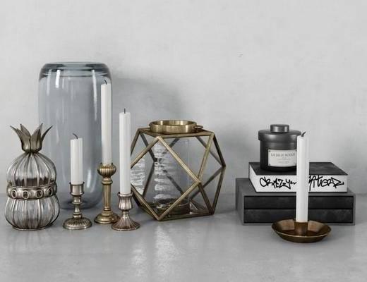 摆件组合, 后现代, 金属, 蜡烛, 玻璃瓶, 摆件