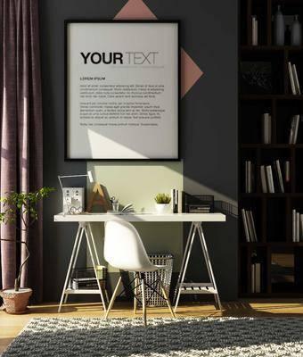 桌子, 椅子, 台灯, 置物柜, 壁画, 盆栽, 现代
