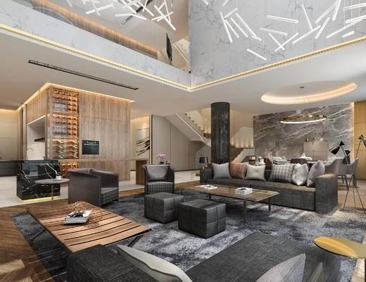现代客厅, 多人沙发, 茶几, 椅子, 沙发凳, 置物柜, 吊灯, 桌子, 现代