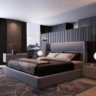 现代简约, 床具组合, 台灯, 床头柜, 花瓶, 下得乐3888套模型合辑