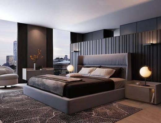 现代简约, 床具组合, 台灯, 床头柜, 花瓶