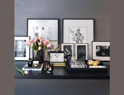 现代, 摆件, 挂画, 花瓶