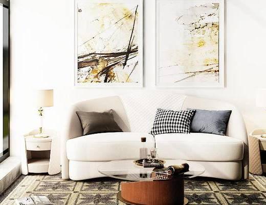 沙发组合, 双人沙发, 茶几, 壁画, 台灯, 边几, 后现代
