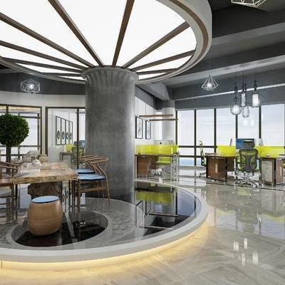 现代办公室, 桌子, 椅子, 凳子, 吊灯, 盆栽, 现代