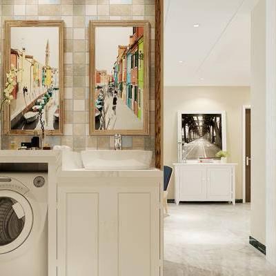 现代卫浴, 洗手台, 壁画, 边柜, 花瓶, 现代
