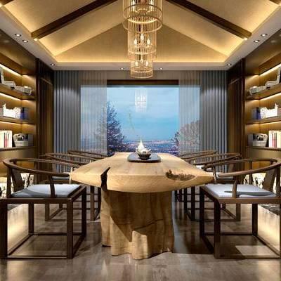 书房, 置物柜, 桌子, 椅子, 吊灯, 中式