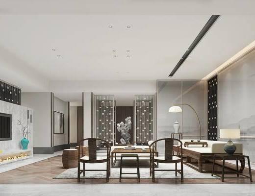 新中式客厅, 多人沙发, 落地灯, 椅子, 边几, 台灯, 壁画, 电视柜, 凳子, 茶几, 新中式